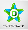 letter d logo symbol in the colorful star on grey vector image