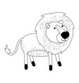 lion cartoon in monochrome silhouette on white vector image vector image