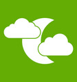 moon and clouds icon green vector image vector image
