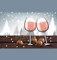 pink wine glasses with chocolates realistic vector image vector image