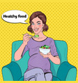 pop art happy pregnant woman eating salad at home vector image vector image