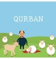 Qurban sacrifice kill goat lamb in islam idul adha vector image