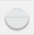 realistic 3d white medical pill icon vector image vector image