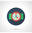 Red wall clock blue round flat icon vector image vector image