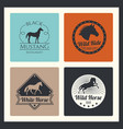 retro racing horse running mare logos vector image