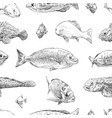 seamless hand drawn fish pattern backgrounds vector image
