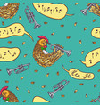 seamless pattern with rooster and trumpet vector image vector image