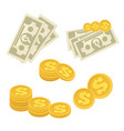 set cash paper money and coins vector image