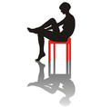 Sitting lonely girl vector image vector image