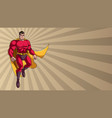 superhero flying on ray light background vector image vector image