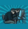 the hacker community skeletons hacked computers vector image
