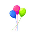 Three color inflatable balloons isolated