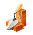 trowel and red ceramic brick vector image vector image