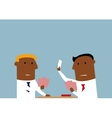Two businessmen playing cards in office vector image