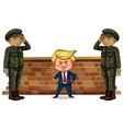 us president trump and two soldiers vector image