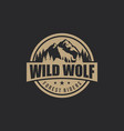 vintage wolf logo template vector image