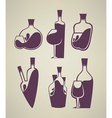 wine collection glass and bottle vector image