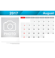 Year 2017 August month simple and clear design vector image vector image