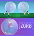 zorb banner set cartoon style vector image vector image