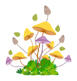mushroom with grass isolated on white background vector image