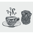 Retro of cute hipster owl vector image