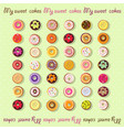 set of different donut icons vector image