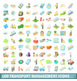 100 transport management icons set cartoon style vector image vector image
