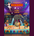 acrobats and animals performing circus arena vector image vector image