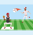 baseball game and players competition with ball vector image vector image