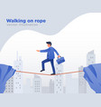 businessman walking on rope vector image vector image