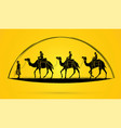 camel tour with guide cartoon graphic vector image