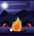 camping zone with tents and nightscape vector image vector image