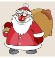 cartoon cute Santa Claus with a bag of gifts vector image