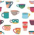 coffee mug seamless pattern trendy hand drawn tea vector image