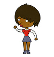 comic cartoon waving woman vector image vector image