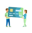 credit card man and woman carrying plastic object vector image vector image