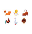 cute cartoon farm animals and pets set cats cock vector image