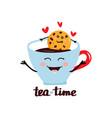 cute flat kawaii mug with tea vector image vector image