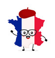 cute funny smiling happy france map vector image vector image