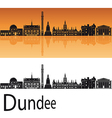 Dundee skyline in orange background vector image vector image