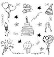 Element birthday doodle art vector image vector image