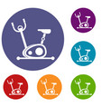 exercise bike icons set vector image vector image