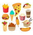 fast food set flat isolated vector image