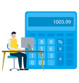 financial statistics man on laptop calculating vector image vector image
