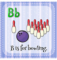 Flashcard of B is for bowling vector image vector image