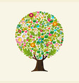 floral tree made pink flower for spring concept vector image vector image