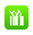 gift box with ribbon icon digital green vector image