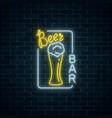 glowing neon signboard of beer bar in rectangle vector image vector image