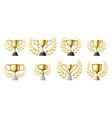 gold trophy cups golden winners trophy vector image vector image