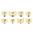 gold trophy cups golden winners trophy with vector image vector image